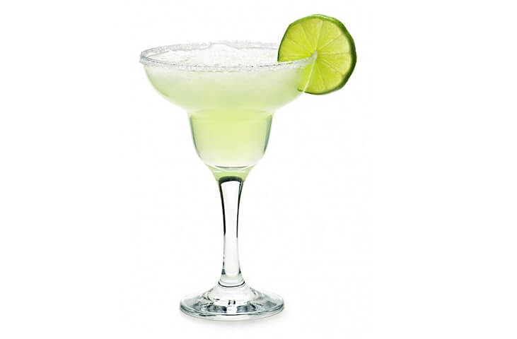 A Mexican tequila based cocktail traditionally served with the appropriate lime and salt embellishments in a glass shaped like an inverted sombrero.