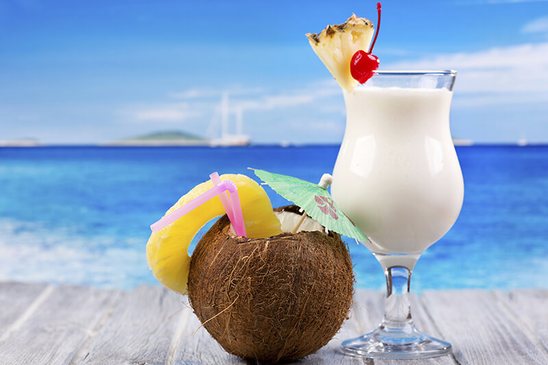 The Pina Colada is a creamy, coconutty, rum based tropical drink. Use white rum only, or a blend of white and dark rum as indicated in the recipe. Please drink responsibly.